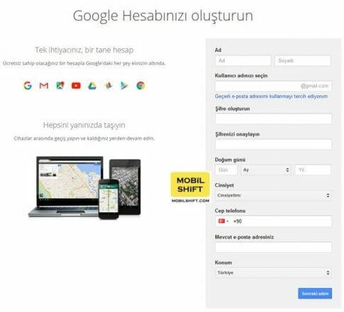 gmail hesabı alma formu