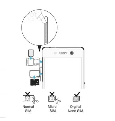 Sony Xperia M5-sim-takma