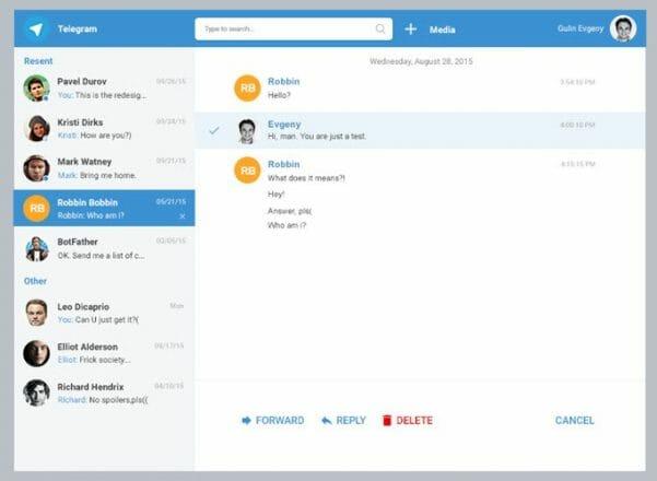 web telegram arayüzü