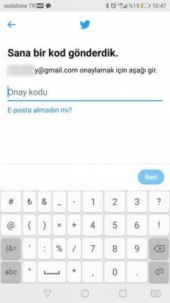 mobil twitter kaydol formu