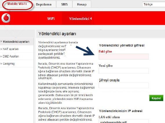 vodafone wifi şifre değiştime