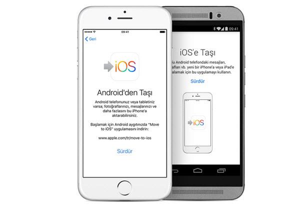Android aygıttan ios üzerine veri aktarma işlemi