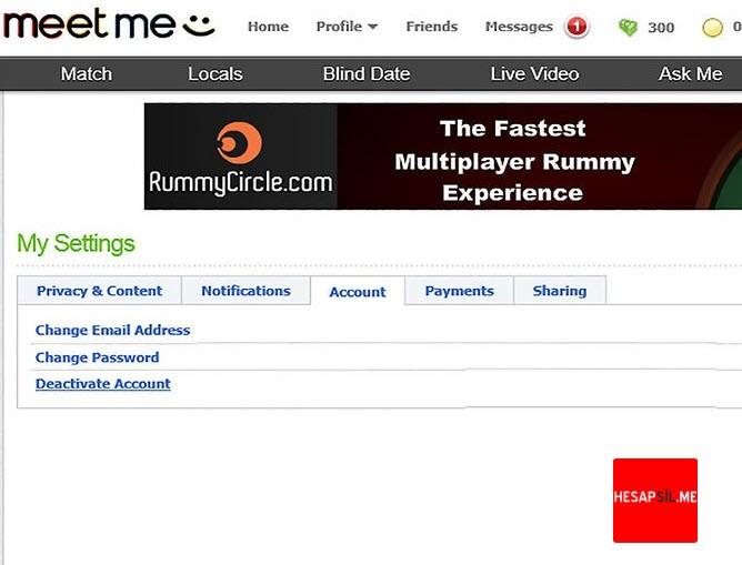 meetme change password
