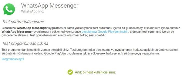 WhatsApp test Sürümü Android İçin