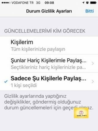 Whatsapp durum gizlilik