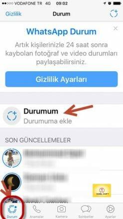 Whatsapp durum oluşturma