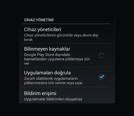 Google Play dışındaki kaynaklardan indirme izin verme