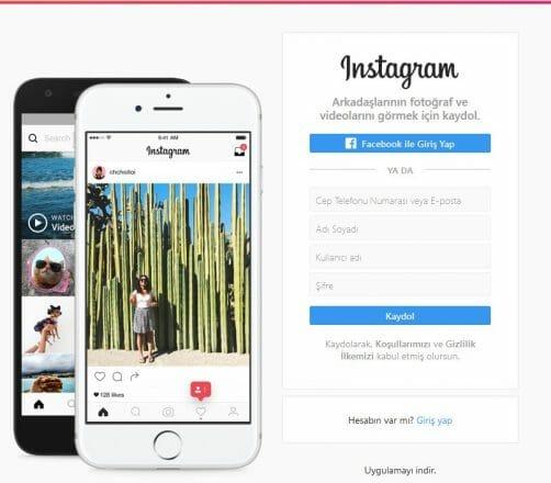 instagram facebook ile giriş