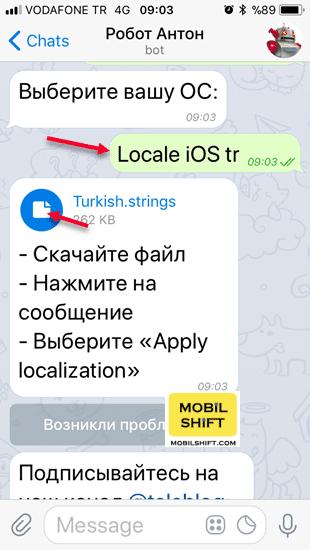 telegram Türkçe yapma