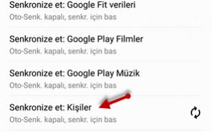 android gmail senkronize ayarı