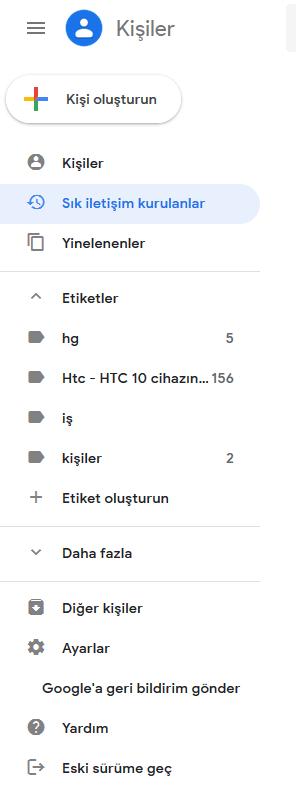 gmail kişiler ayarları bölümü