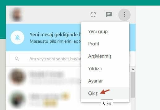 web whatsapp çıkış yapma