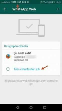 whatsapp web nasıl iptal edilir