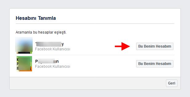 facebook hesap bulma formu